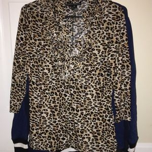 Long sleeve cheetah print shirt
